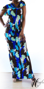 Asymmetrical Sleeve Maxi Dress With Shirring (worn front to back)